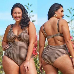 Cupshe Rachel Houndstooth 1 Piece Swimsuit 0X NWT